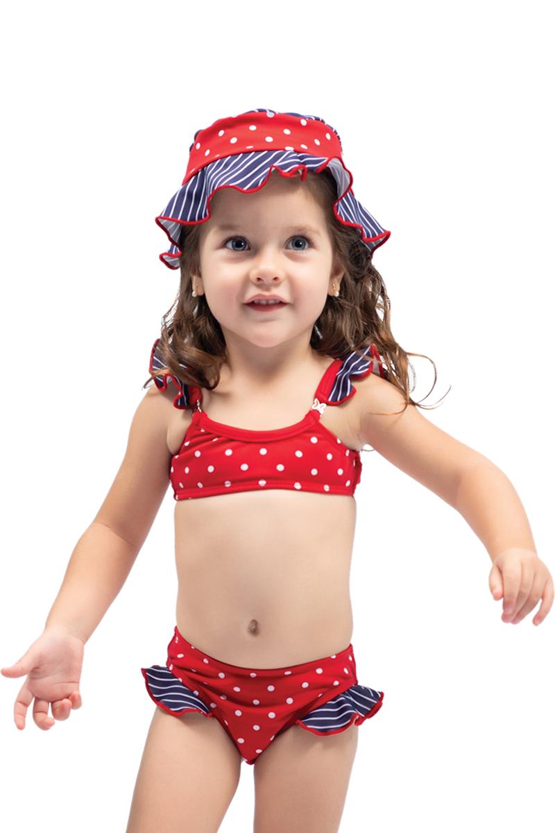 Conjunto biquíni baby com chapéu