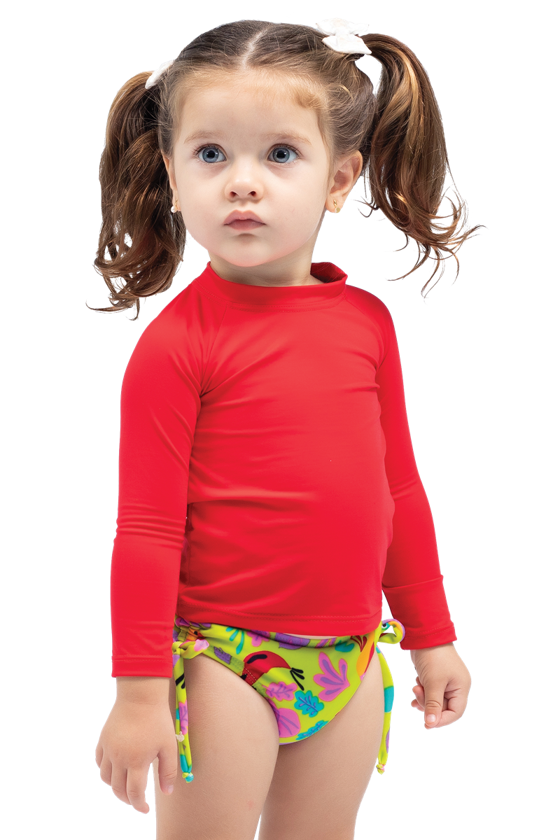 Camiseta baby manga longa proteção solar UV 50+