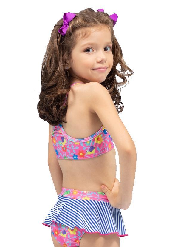 Conjunto biquíni infantil com saia