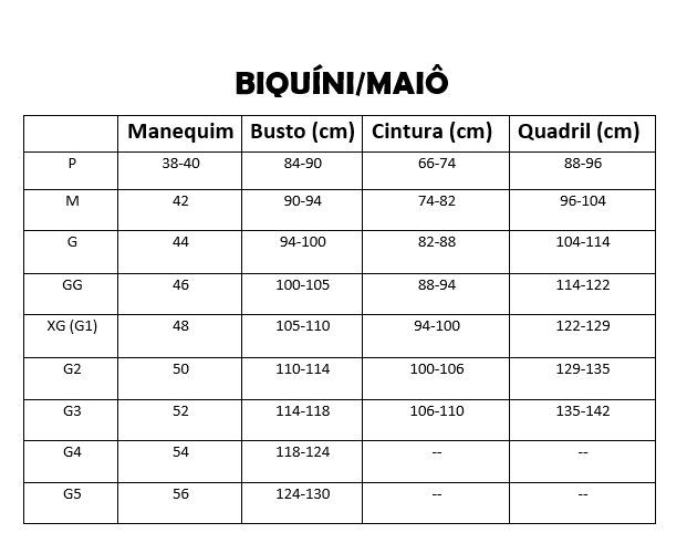 Tabela de medidas beira amar rio maiô